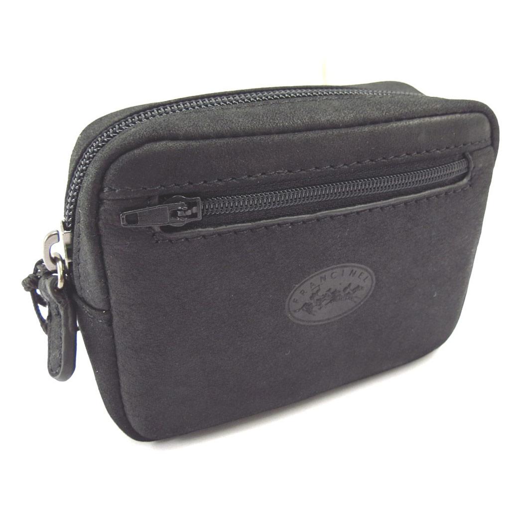 Pochette ceinture cuir \'Peau de Pèche\' noir - 12x9x4 cm - [K4291]