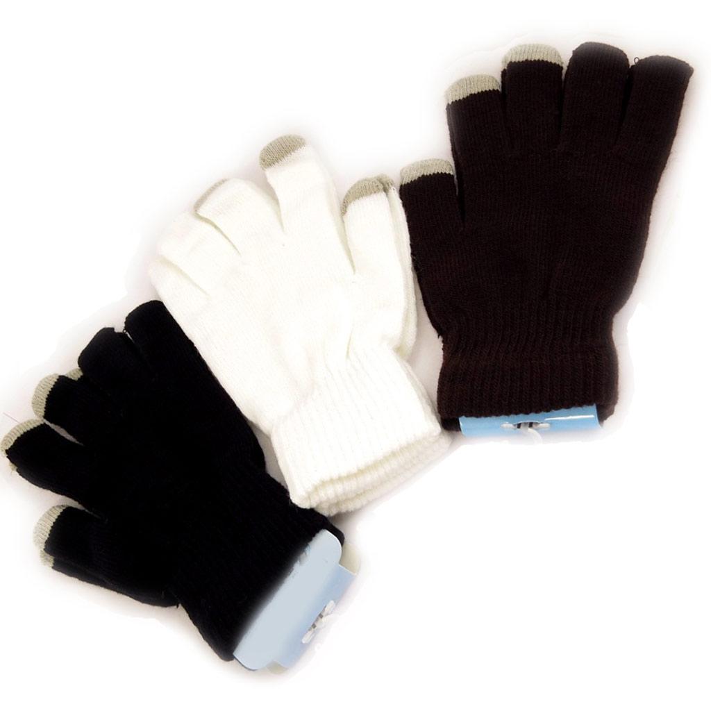 3 paires de gants \'Indispensable\' marron blanc noir (écran tactile) - [K9155]