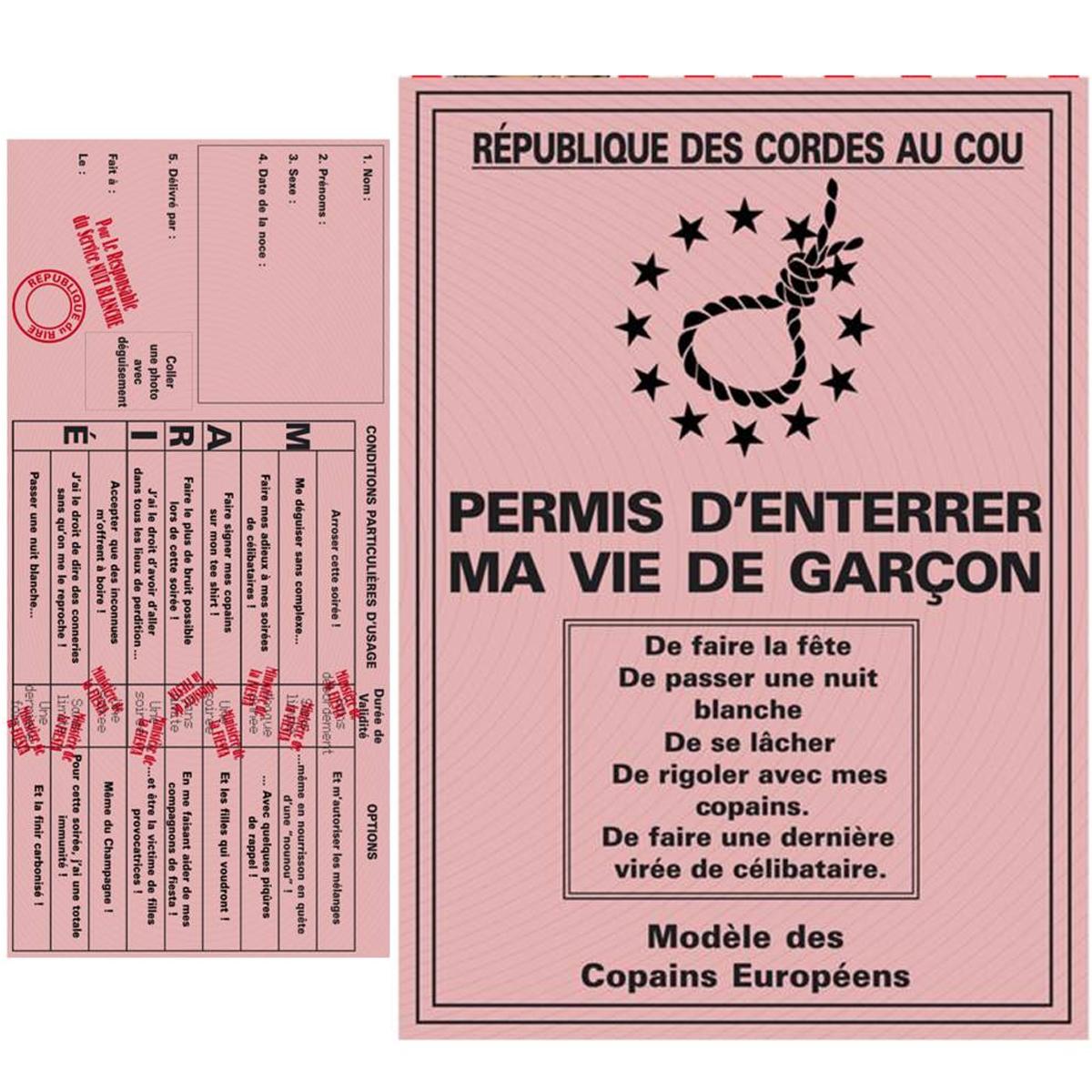 Carte spéciale \'Permis d\'enterrer ma vie de Garçon\' - 205x145 cm - [L1485]
