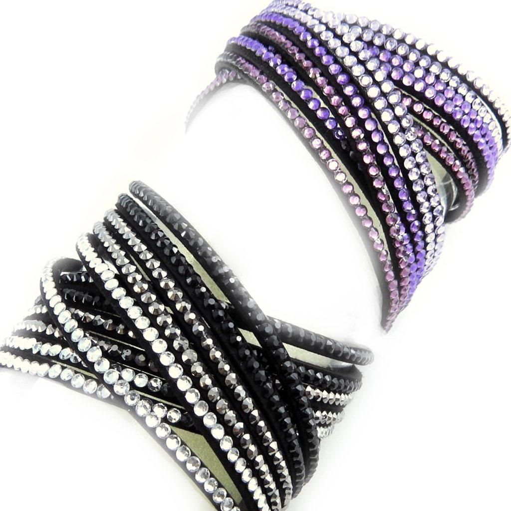 2 bracelets Créateur \'Sissi\' noir violet (2 tours) - [L1574]