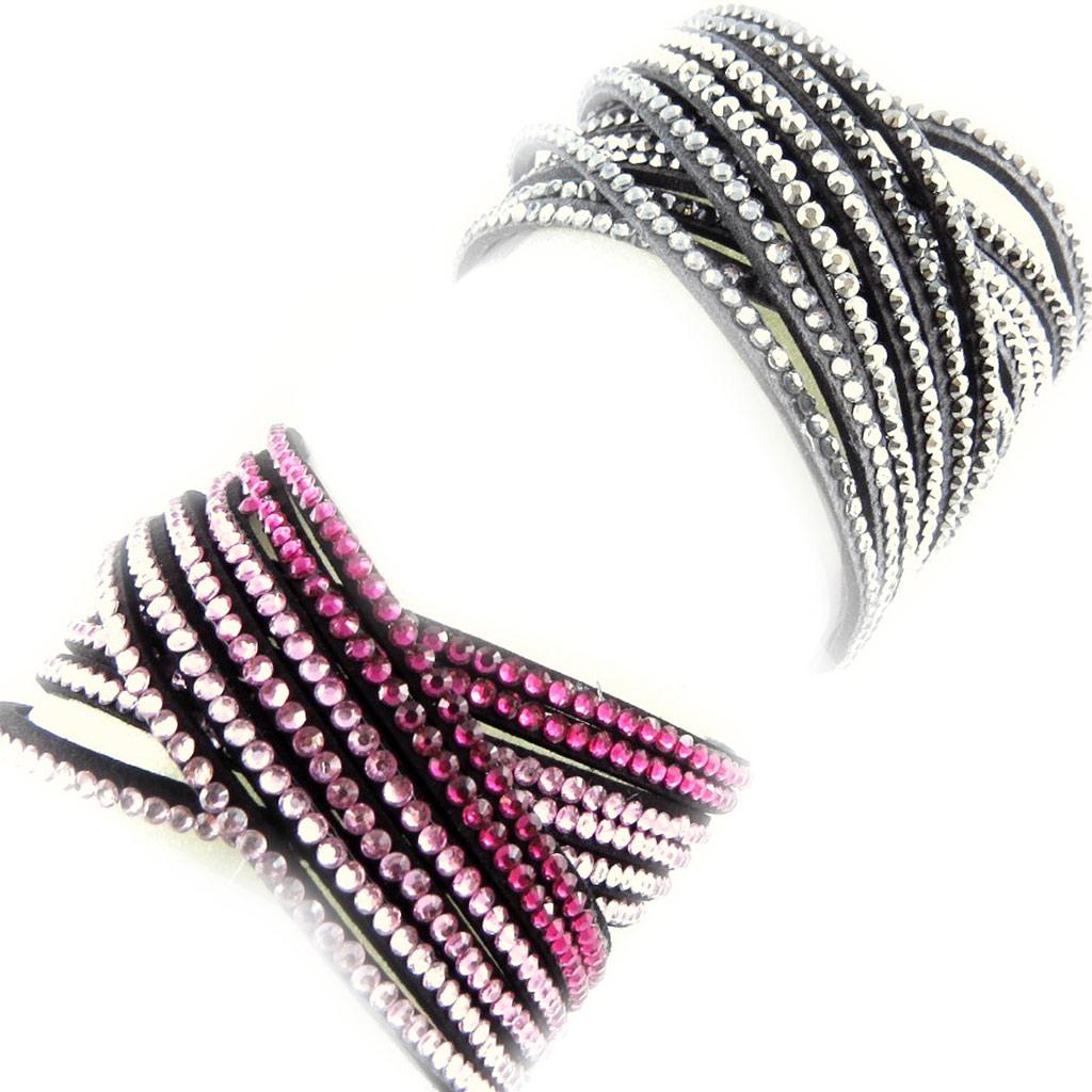 2 bracelets Créateur \'Sissi\' rose gris (2 tours) - [L1579]