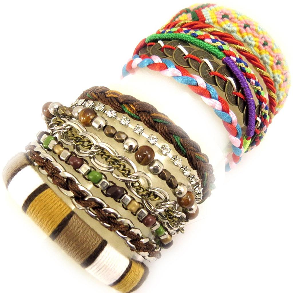 2 bracelets Créateur \'Katmandou\' marron tutti frutti - [L1606]