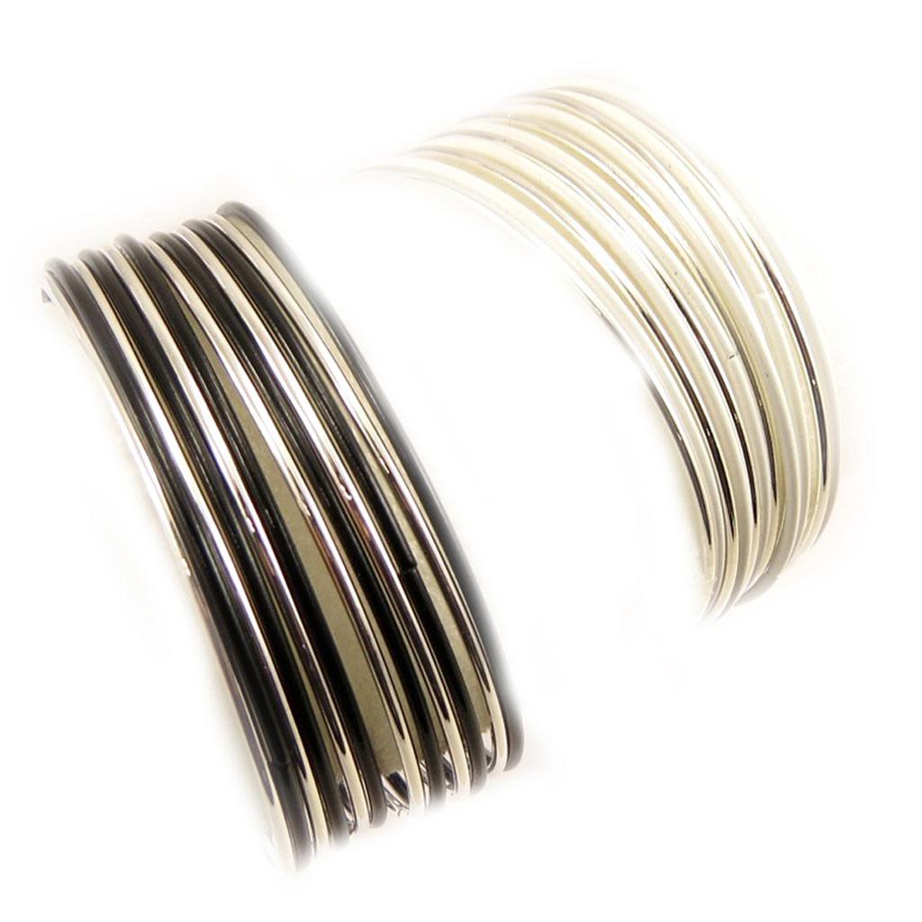 2 bracelets \'Chorégraphie\' noir blanc - [L5250]