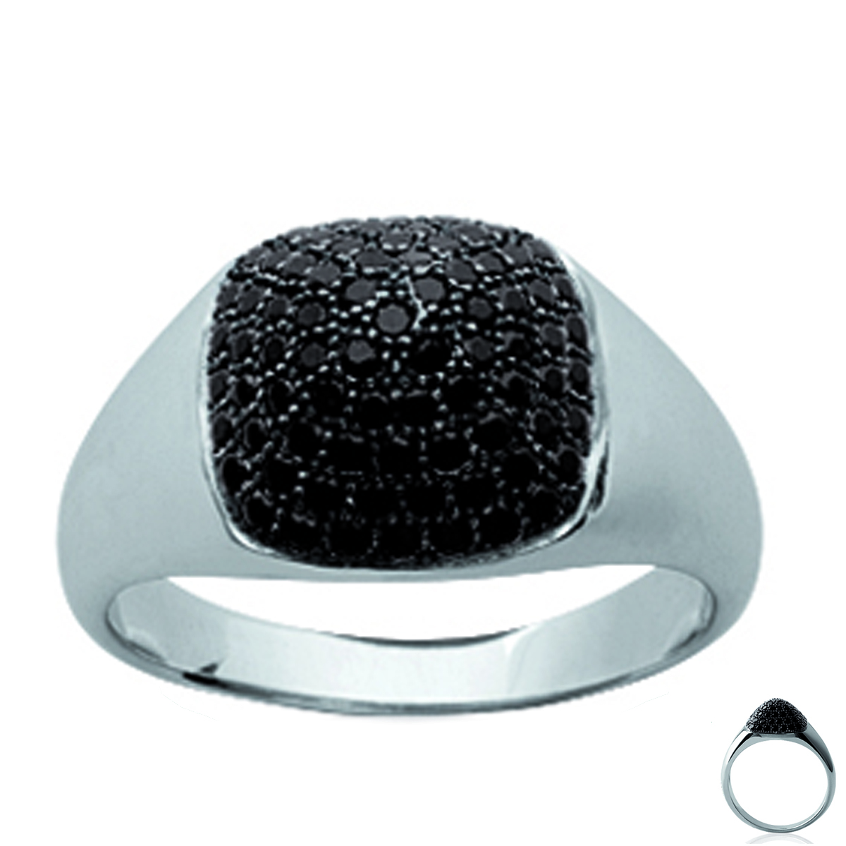 Bague argent \'Sissi\' noir argenté (rhodié) - 12x12 mm - [L5759]