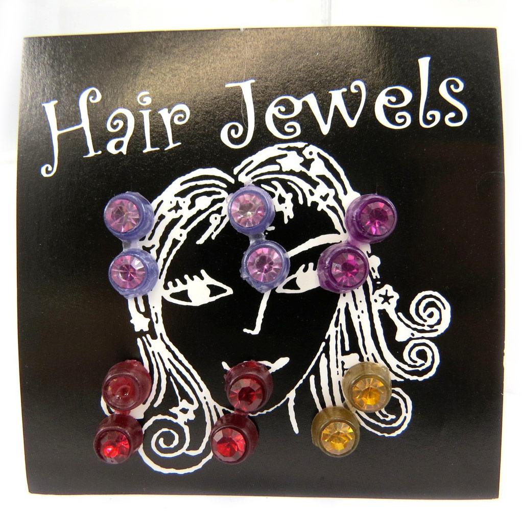 Set de 6 décoration cheveux \'Cristal\' rose violet rouge jaune - [L6412]