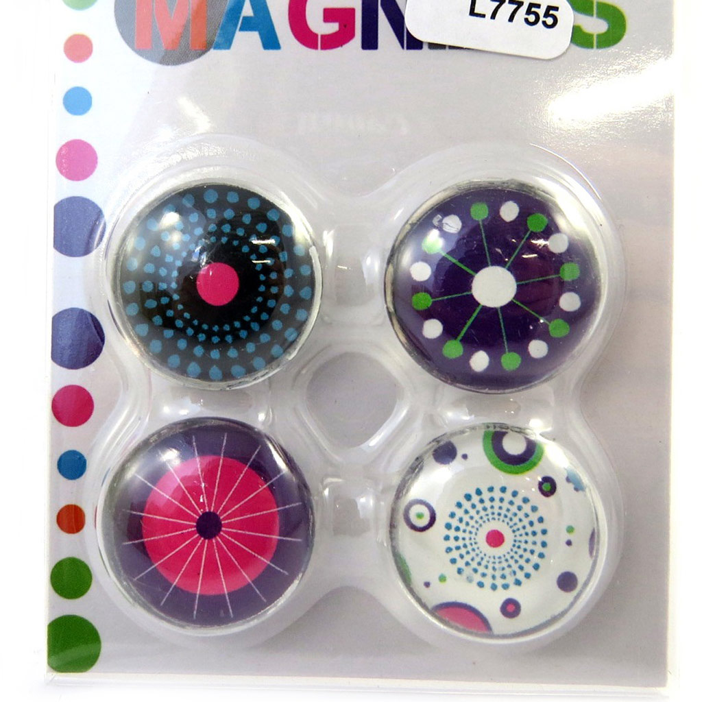 Set de 4 magnets \'Coloriage\' violet blanc - [L7755]