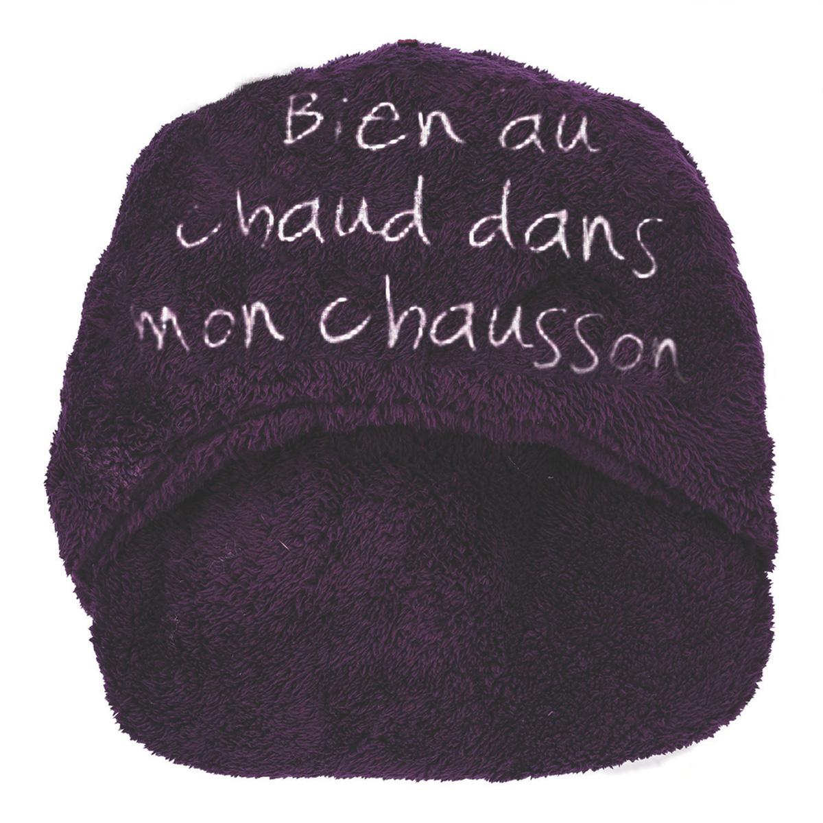 Géant chausson duo \'Bien au chaud dans mon chausson\' violet - [L9006]