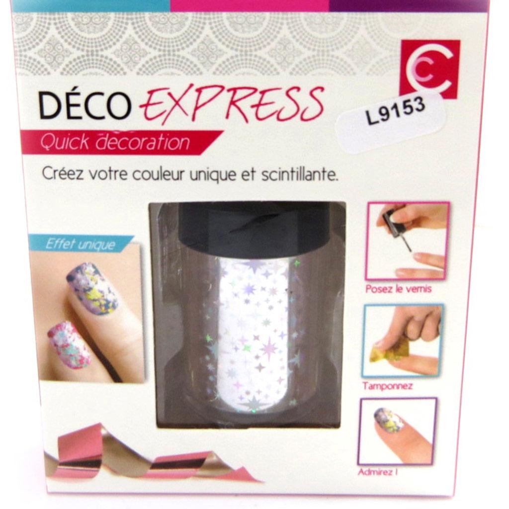 Déco express ongles \'Coloriage\' étoiles argenté - [L9153]