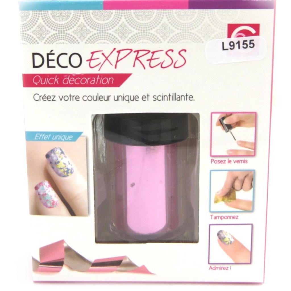 Déco express ongles \'Coloriage\' rose métal - [L9155]