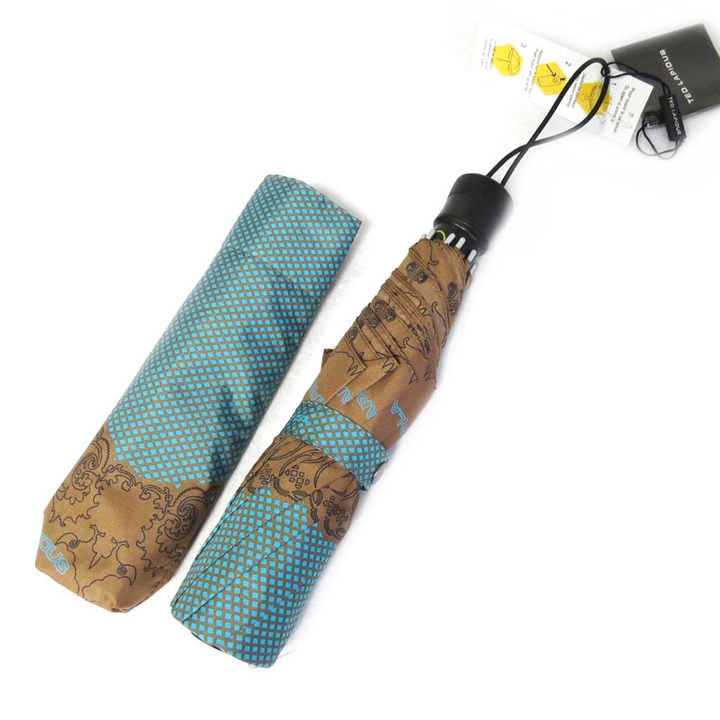 Parapluie automatique \'Ted Lapidus\' turquoise marron - [M0273]