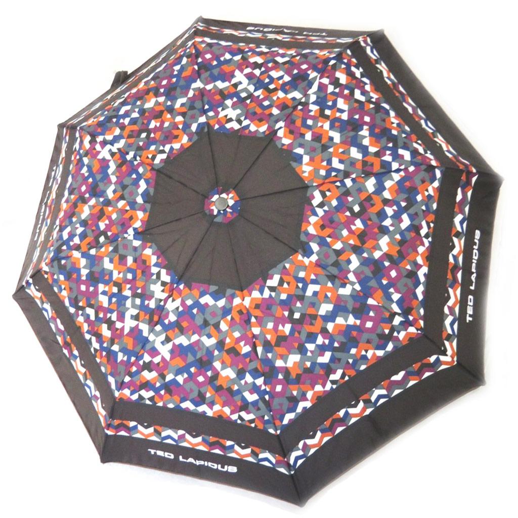 Parapluie automatique \'Ted Lapidus\' marron violet - [M0276]
