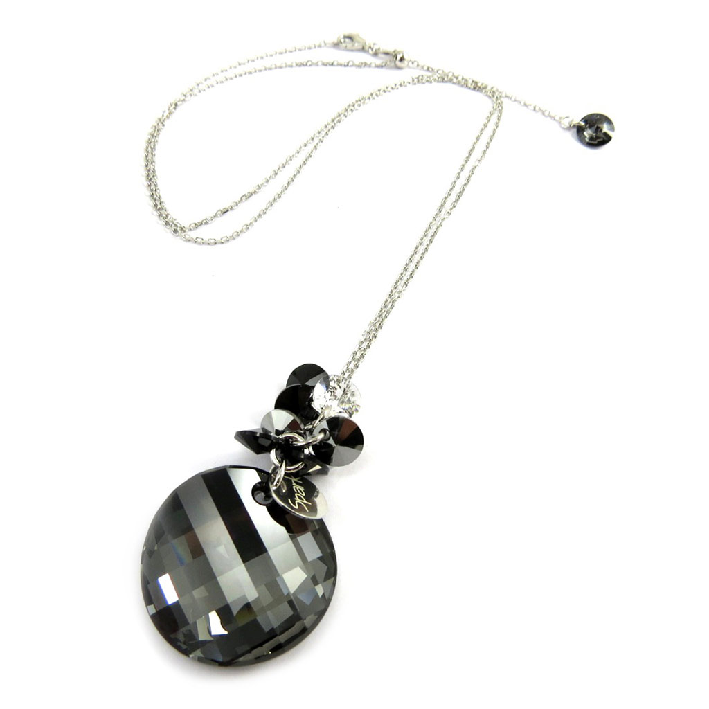 Collier Argent \'Sissi\' gris (cristal de Swarovski) - [M1006]