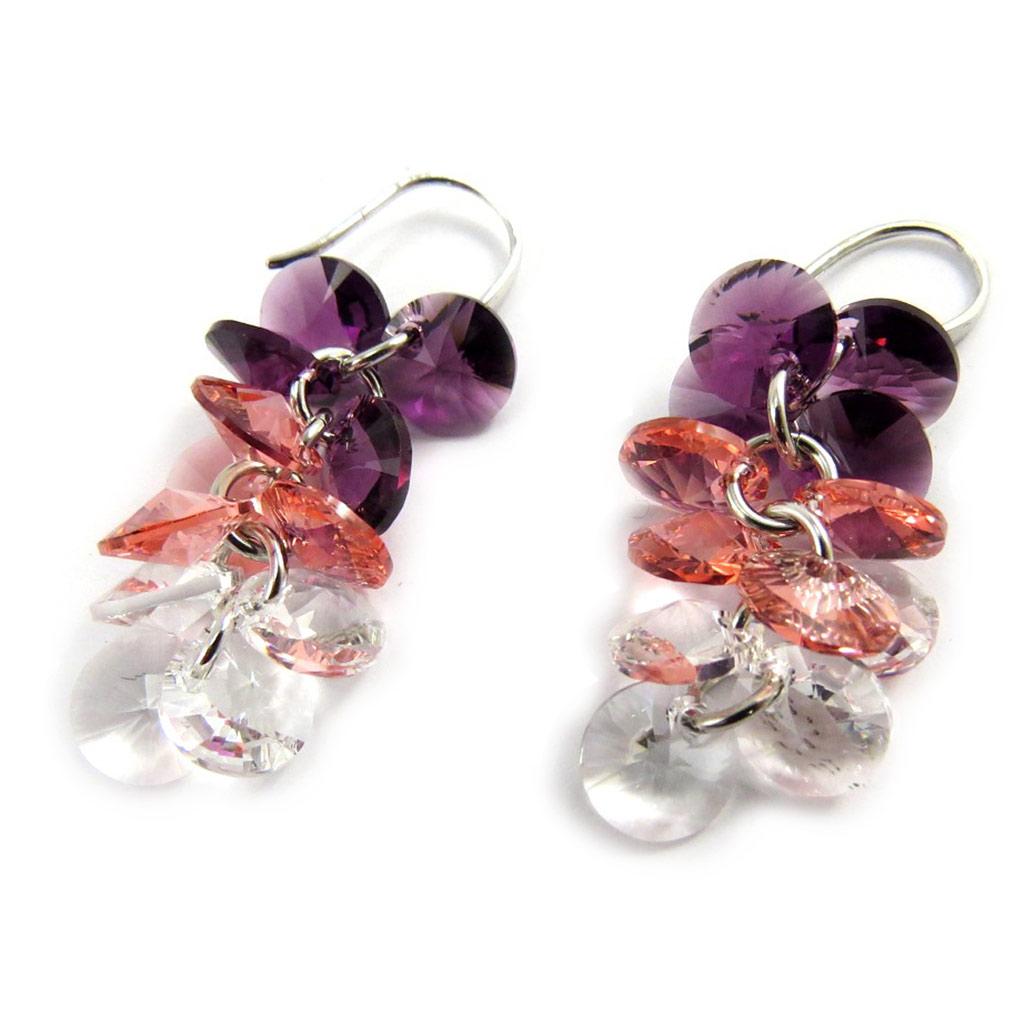Boucles Argent \'Sissi\' violet rose (cristal de Swarovski) - [M1012]