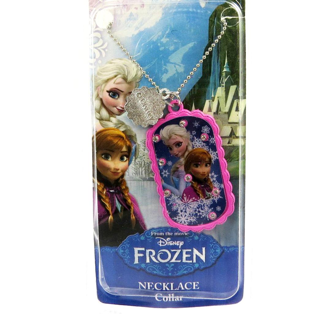 Collier créateur \'Frozen - Reine des Neiges\'  rose (2 soeurs) - [M1036]