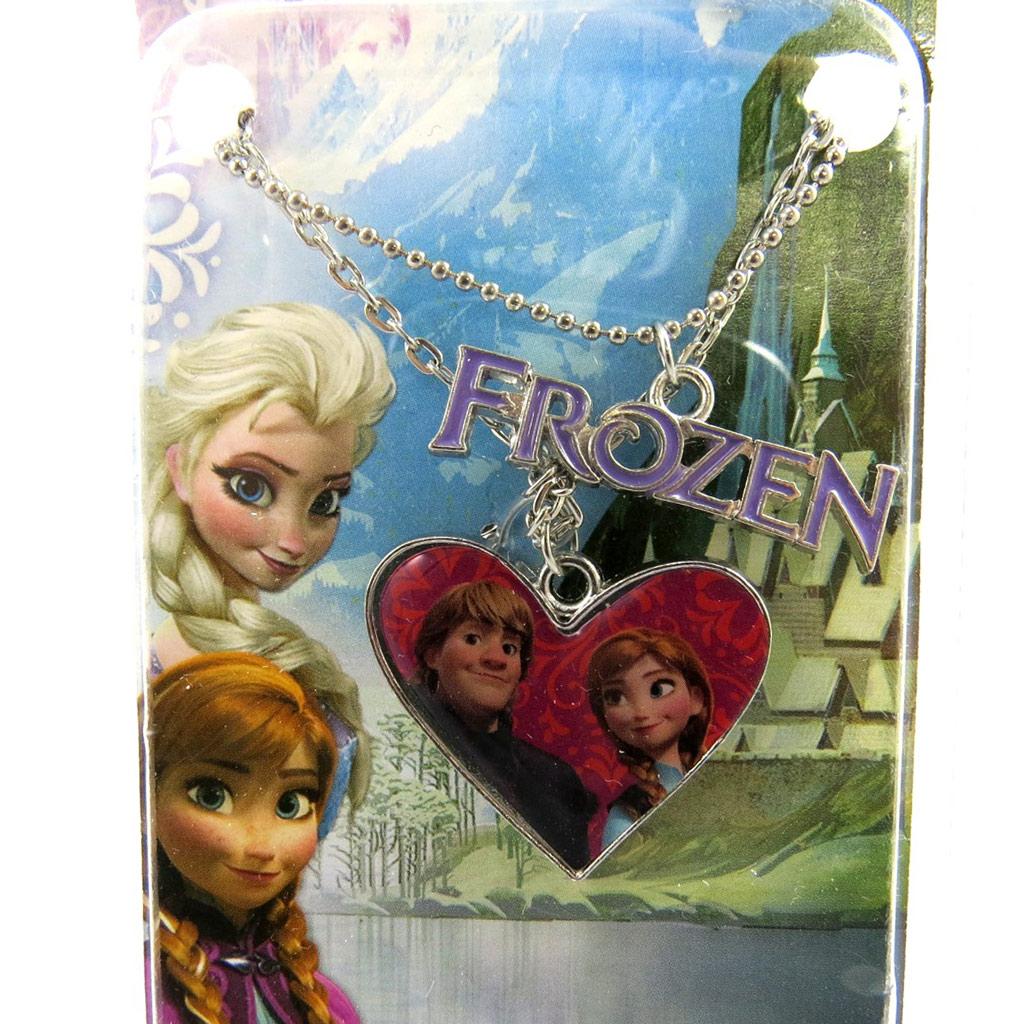 Collier créateur \'Frozen - Reine des Neiges\' coeur rose - [M1041]