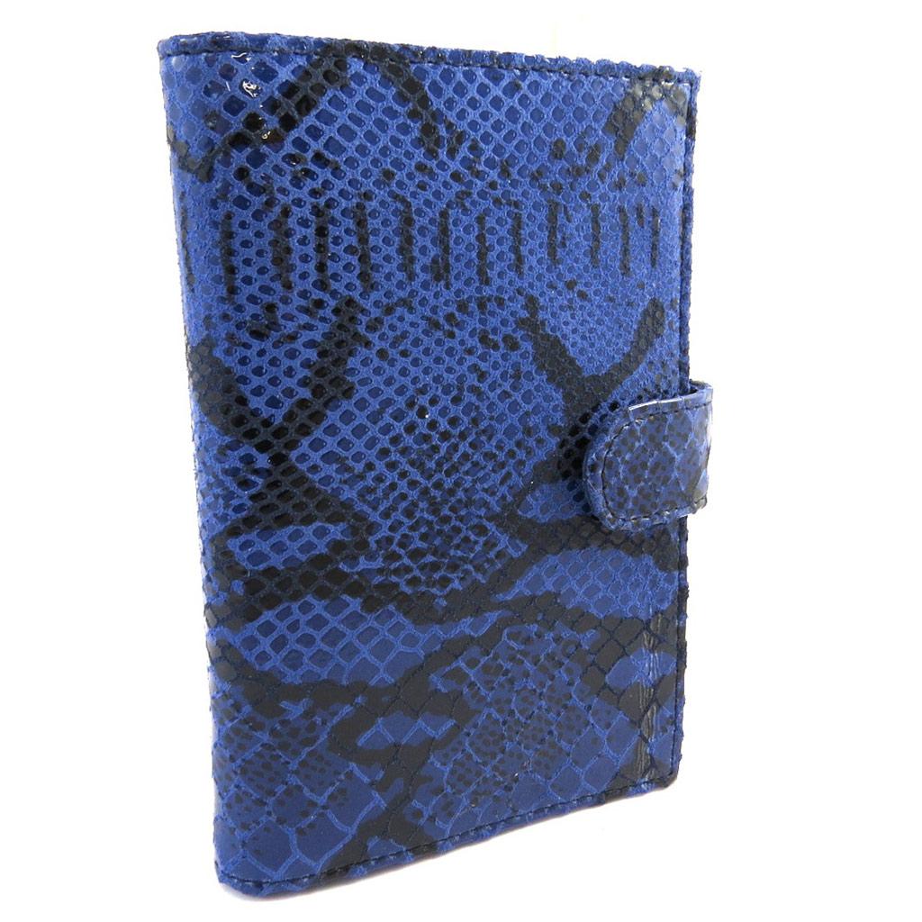Porte Papiers de voiture Cuir \'Frandi\' bleu (motif python) - [M1057]