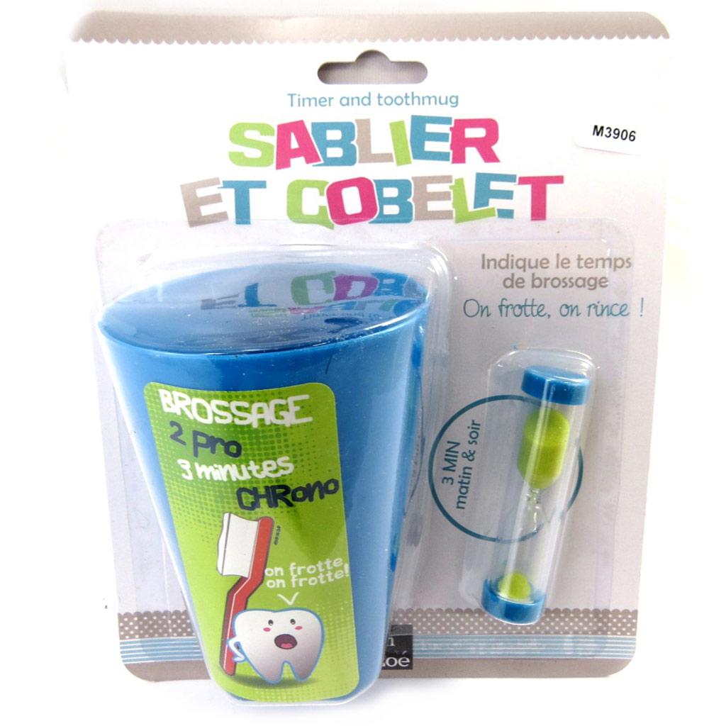 Gobelet + sablier \'Tom et Zoé\' bleu - [M3906]