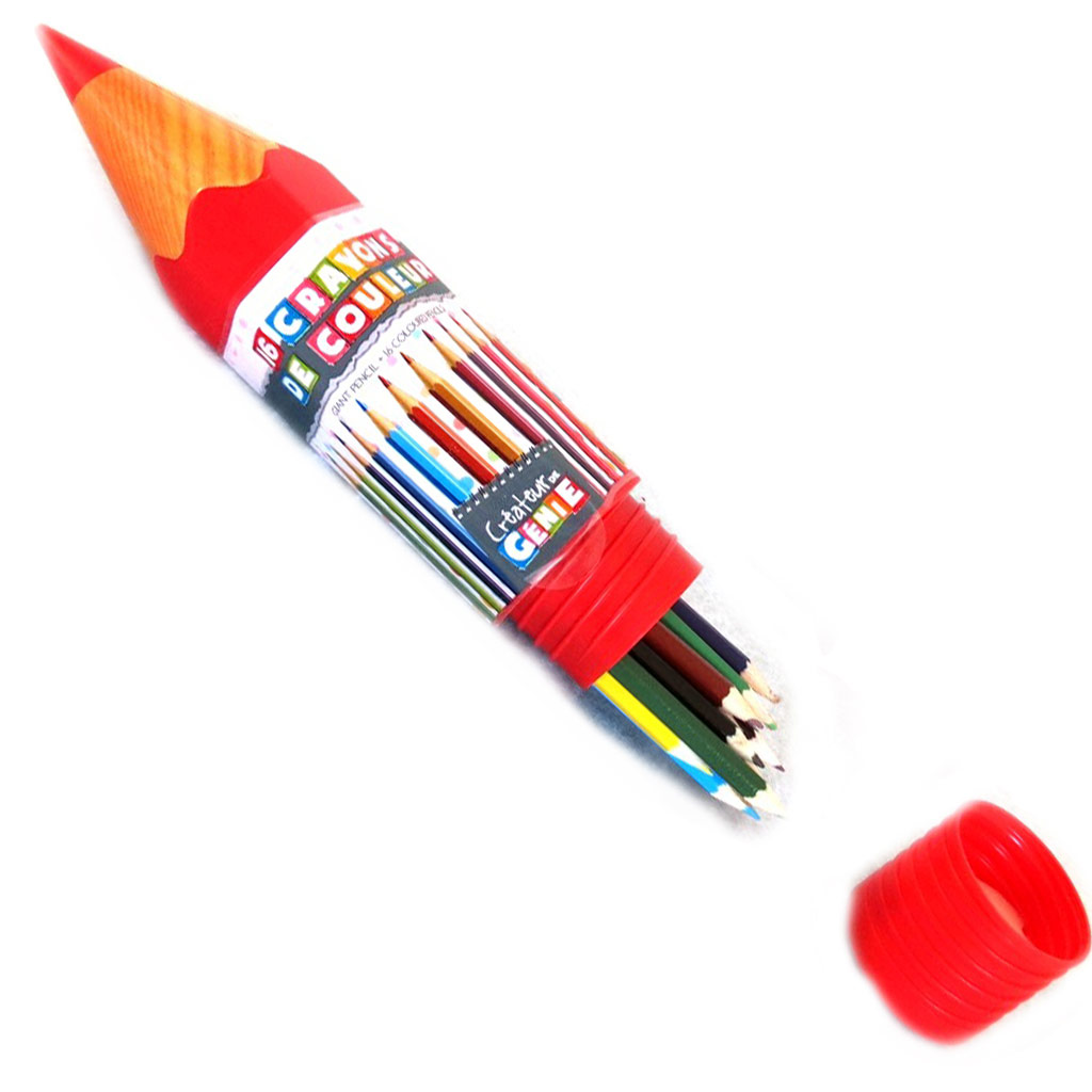16 crayons de couleur \'Coloriage\' rouge - [M4681]