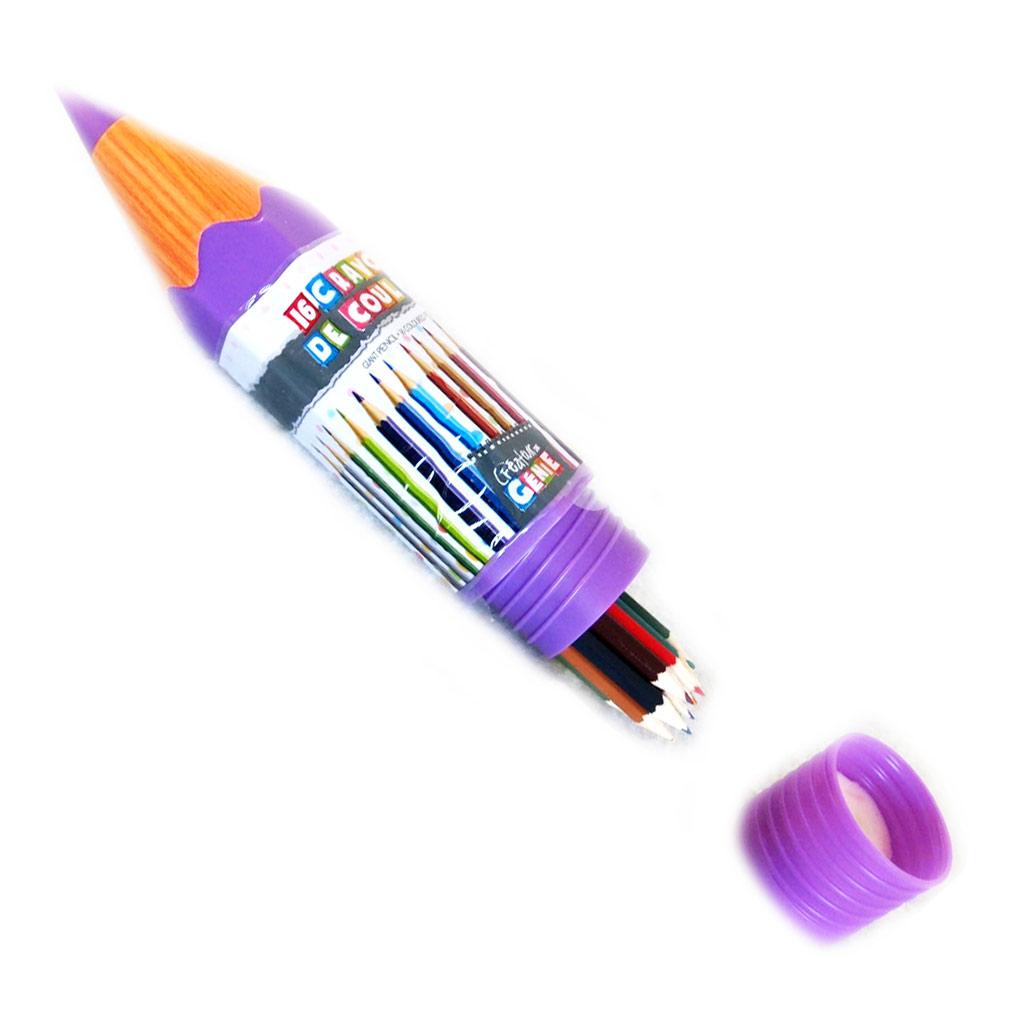 16 crayons de couleur \'Coloriage\' violet - [M4684]