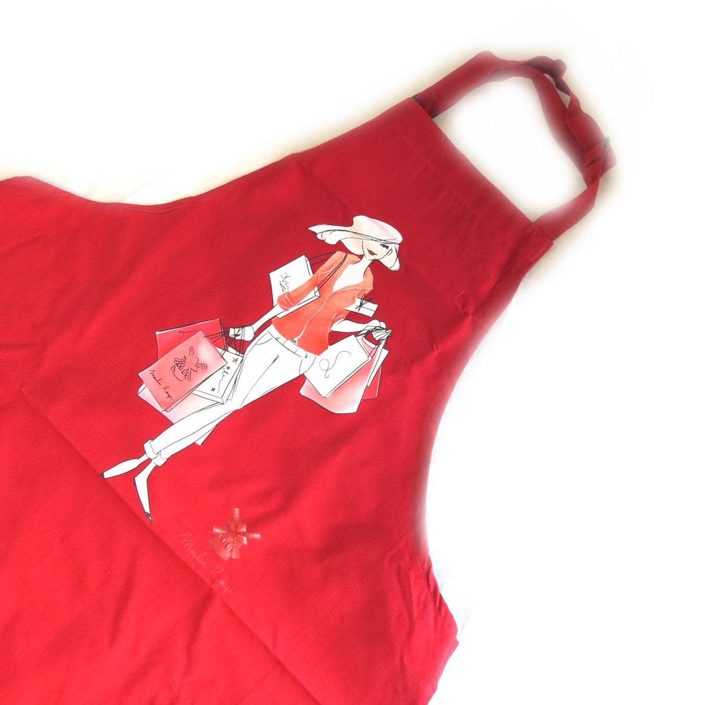 Tablier créateur \'La Parisienne au Moulin Rouge\' rouge - [M5764]