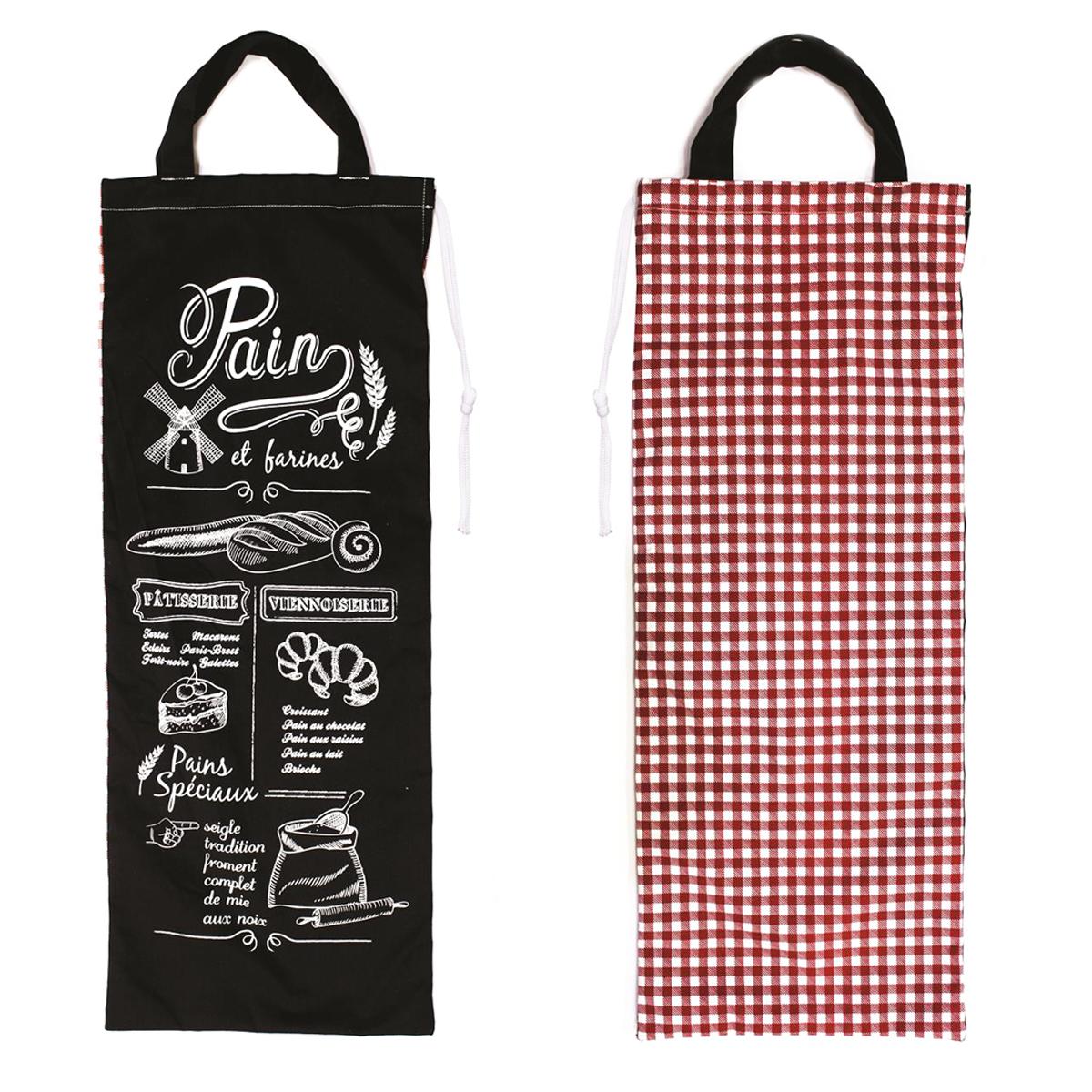 Sac à pain \'Pain et Farines\' noir rouge - [M7709]