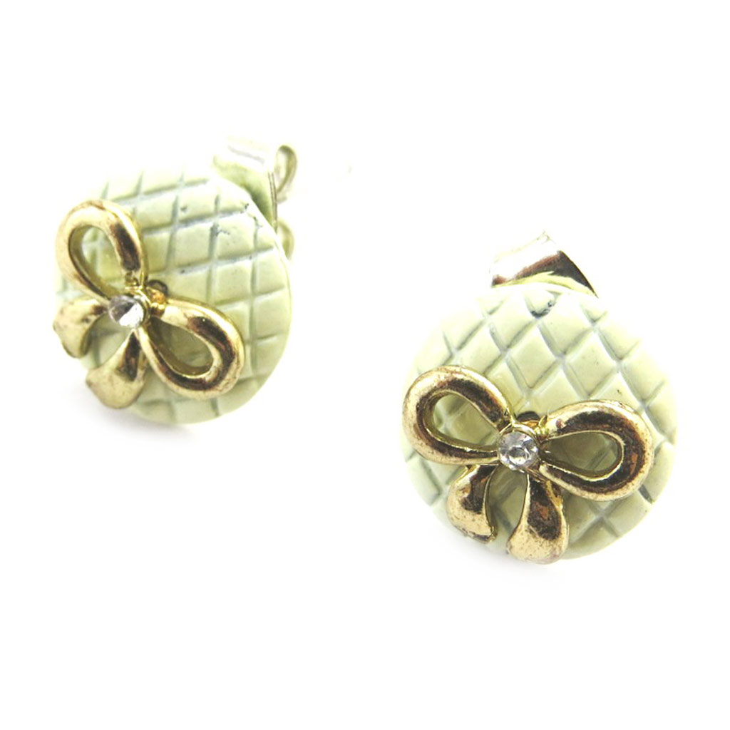 Boucles \'Noeud Romantique\' doré vert - [M8139]
