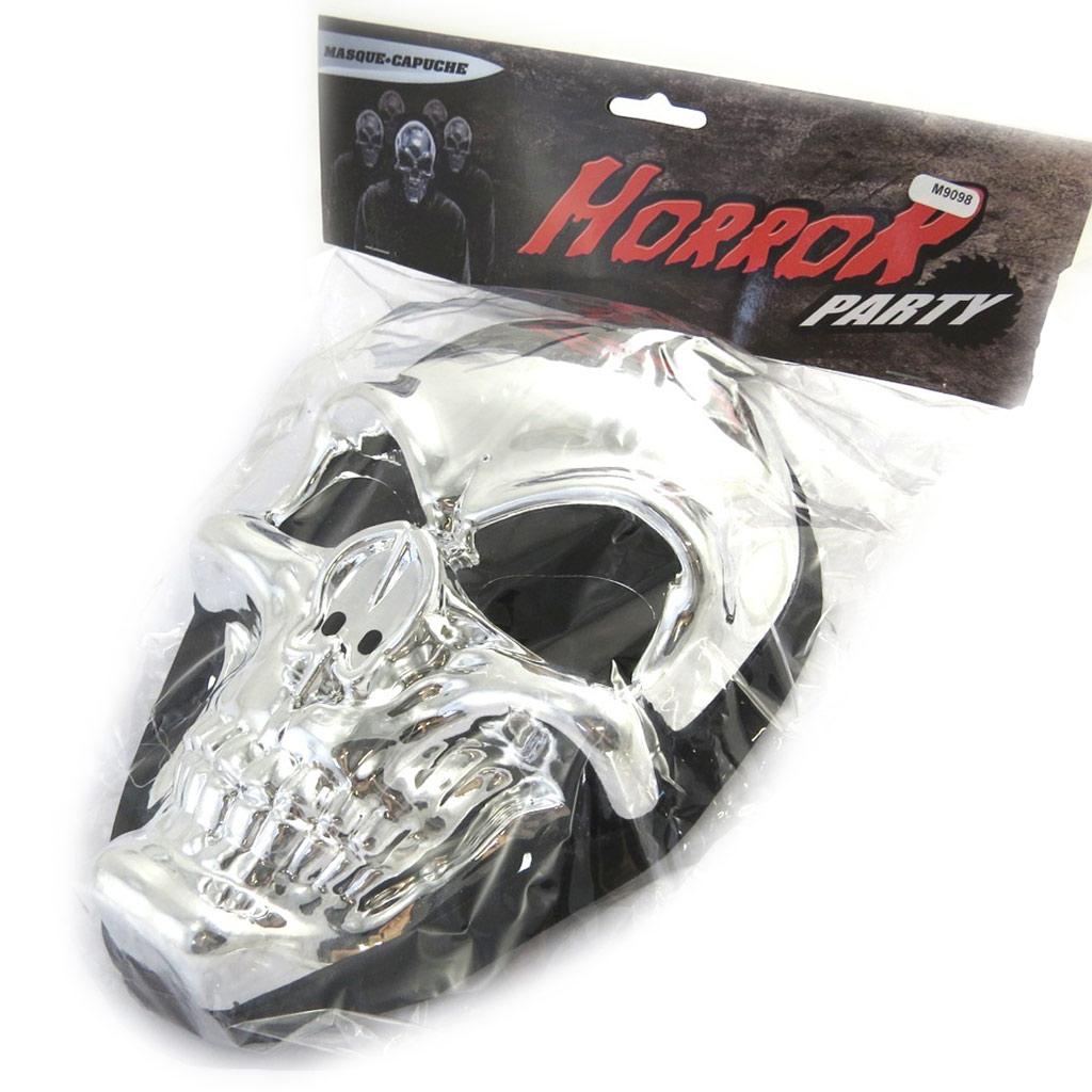 Masque de déguisement \'Tête de Mort\' argenté (cagoule) - [M9098]