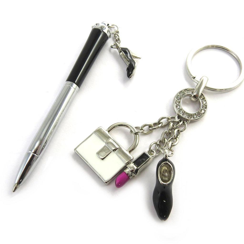 Coffret \'Sissi\' noir chrome (stylo + porte-clés) - [N0854]