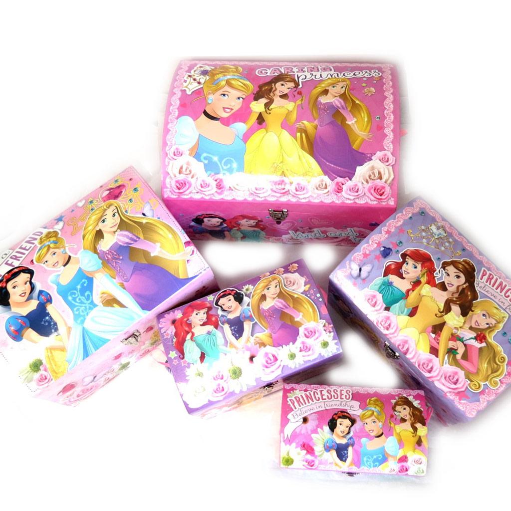 Set de 5 malles dome \'Princesses Disney\' rose violet - [N0883]