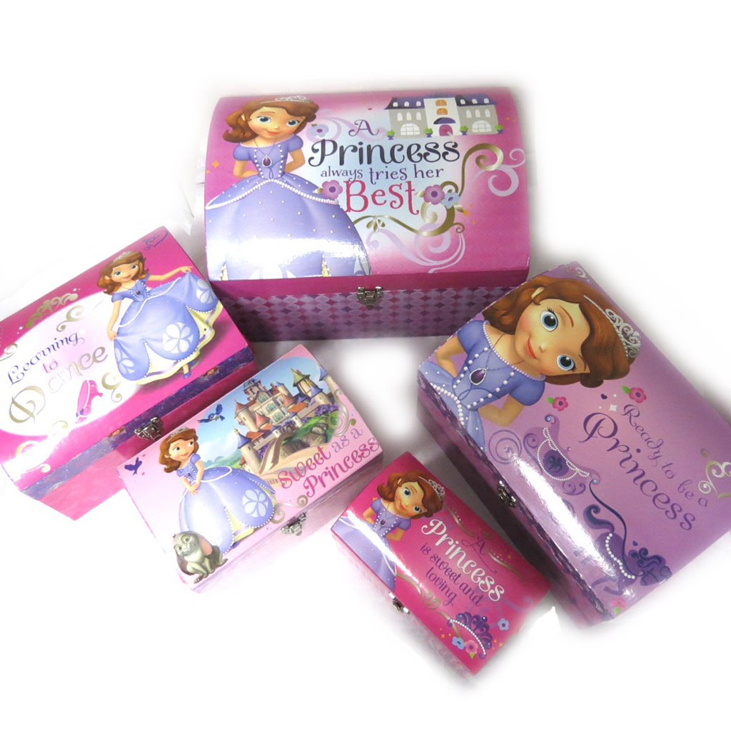 Set de 5 malles dome \'Princesse Sofia\' rose violet - [N0907]
