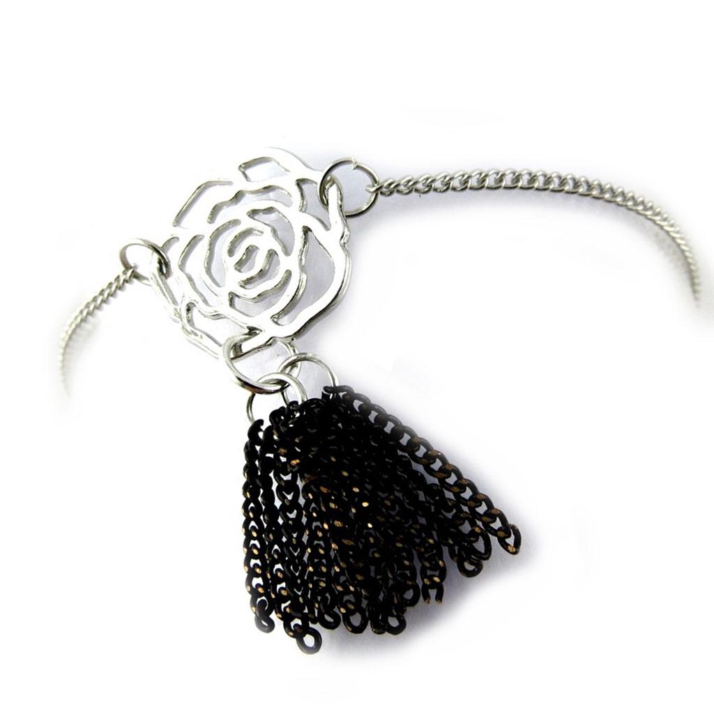 Bracelet \'Rosa Romantica\' noir argenté  - [N1018]