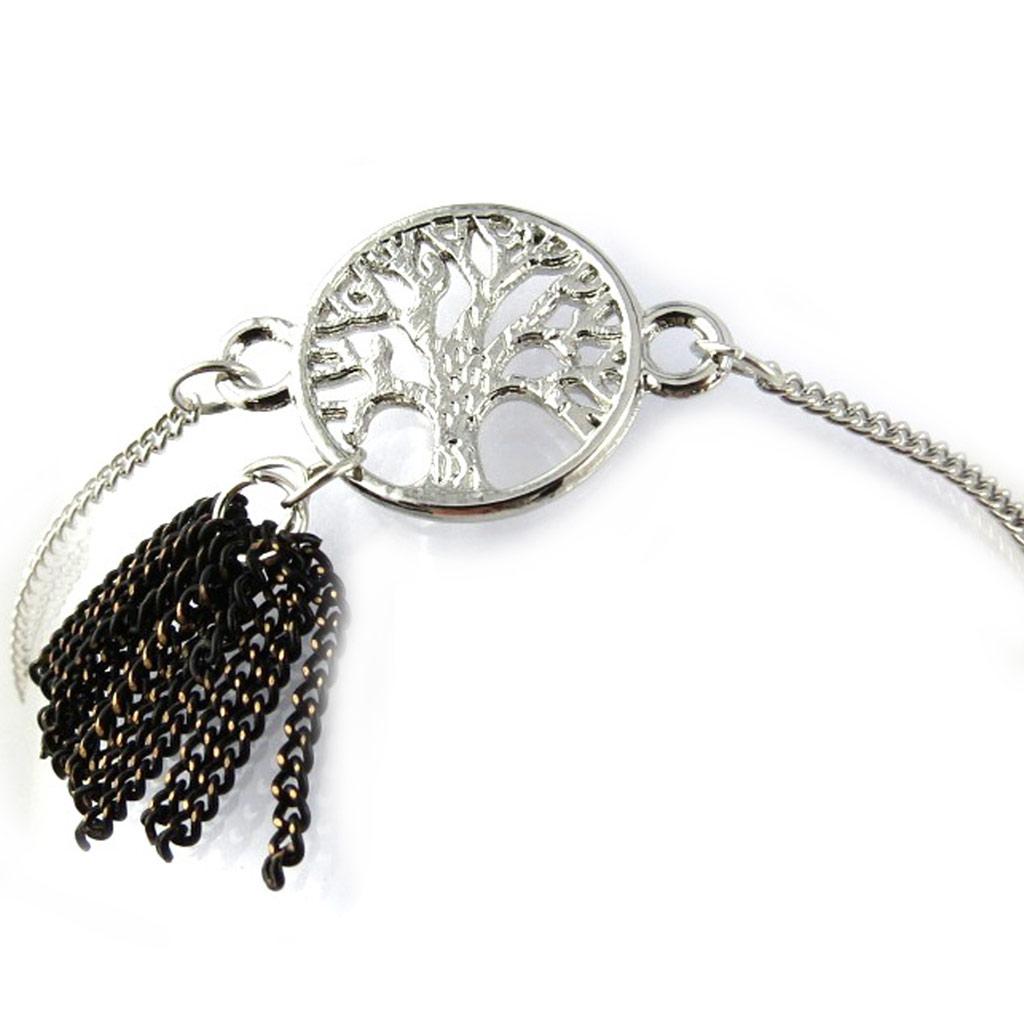 Bracelet \'Arbre de Vie\' noir argenté  - [N1019]
