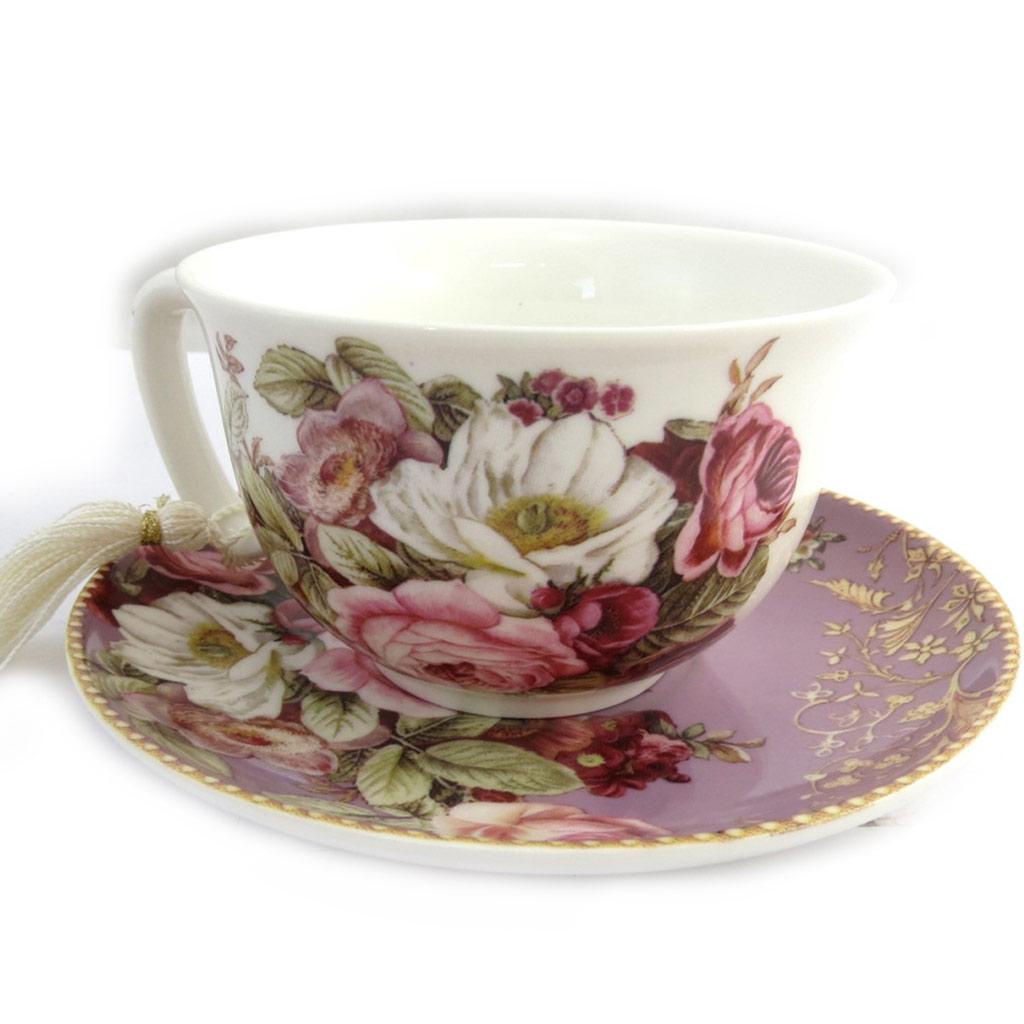 Coffret cadeau tasse + soucoupe \'Jardin Botanique\' rose bordeaux - [N1305]