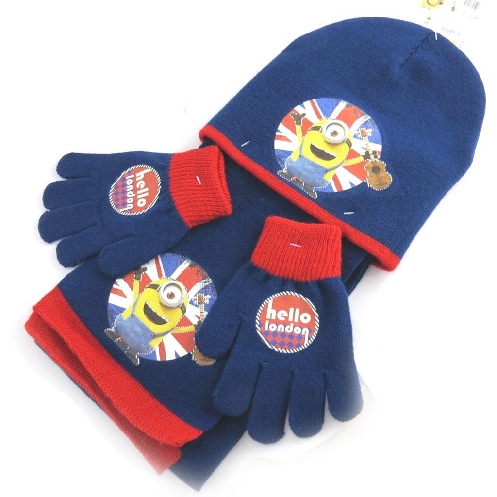 Ensemble enfant \'Minions\' bleu union jack (gants + bonnet + écharpe) - [N1361]