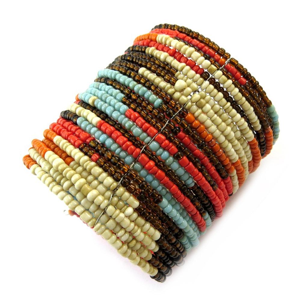 Bracelet créateur \'Katmandou\' marron orange beige - [N4633]