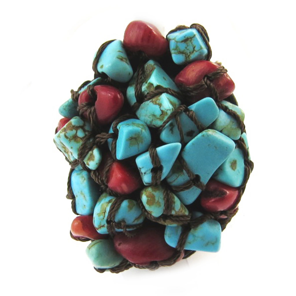 Bague \'Mineralia\' turquoise rouge - [N4636]