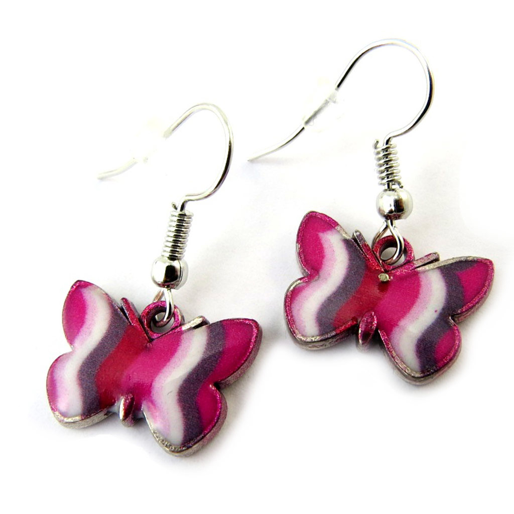 Boucles \'Papillons\' rose - [N4673]