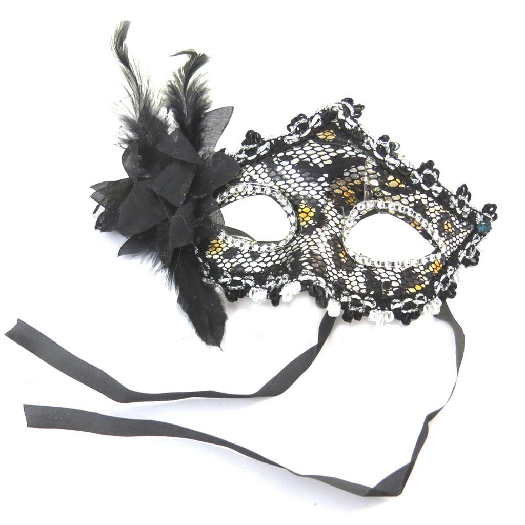 Masque créateur \'Carnaval de Venise\' noir panthère - [N6184]