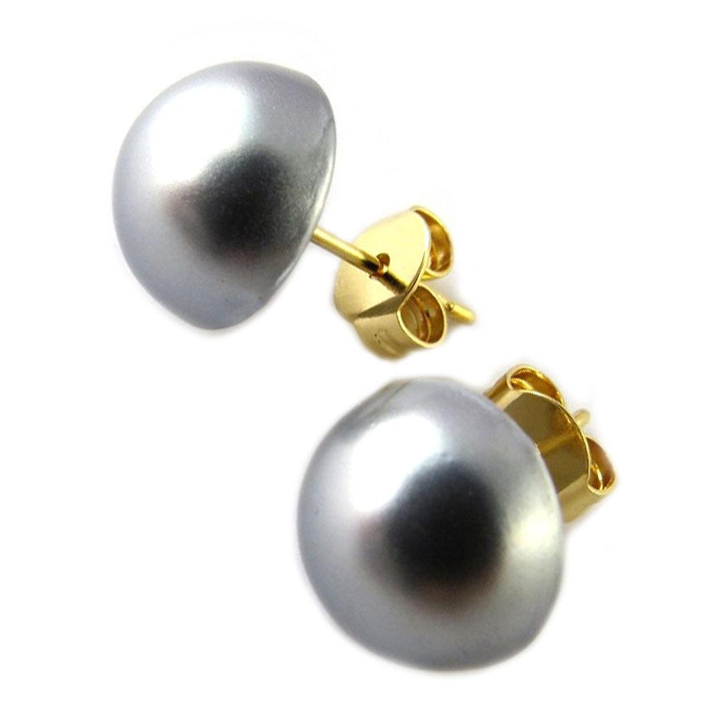 Boucles plaqué Or \'Perla\' gris - 10 mm - [N7249]