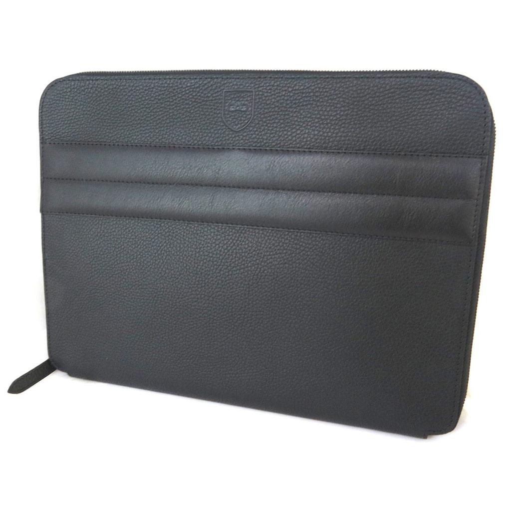 Housse tablette cuir \'Eden Park\' noir grainé - 34x27x3 cm - [N9767]