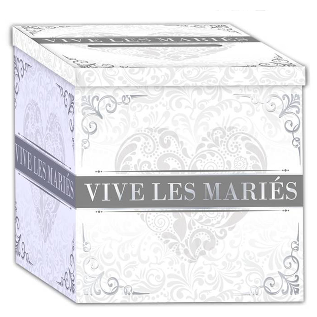 Urne \'Mariage - Vive les Mariés\' gris blanc - 21x21x19 cm - [P2168]