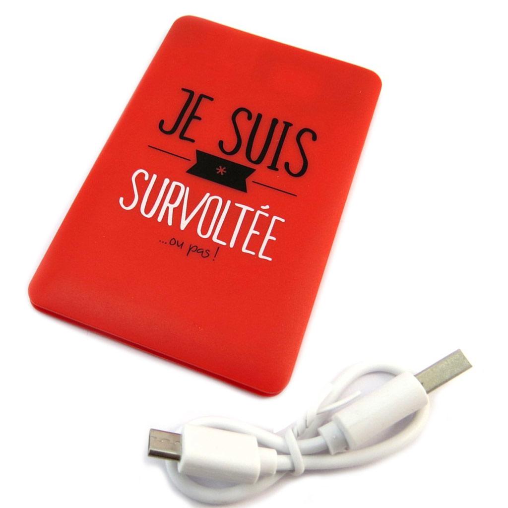 Batterie de secours lithium-ion polymère \'Messages\' rouge (Je suis Survoltée  ou pas !) - 2000 mAh - [P2842]