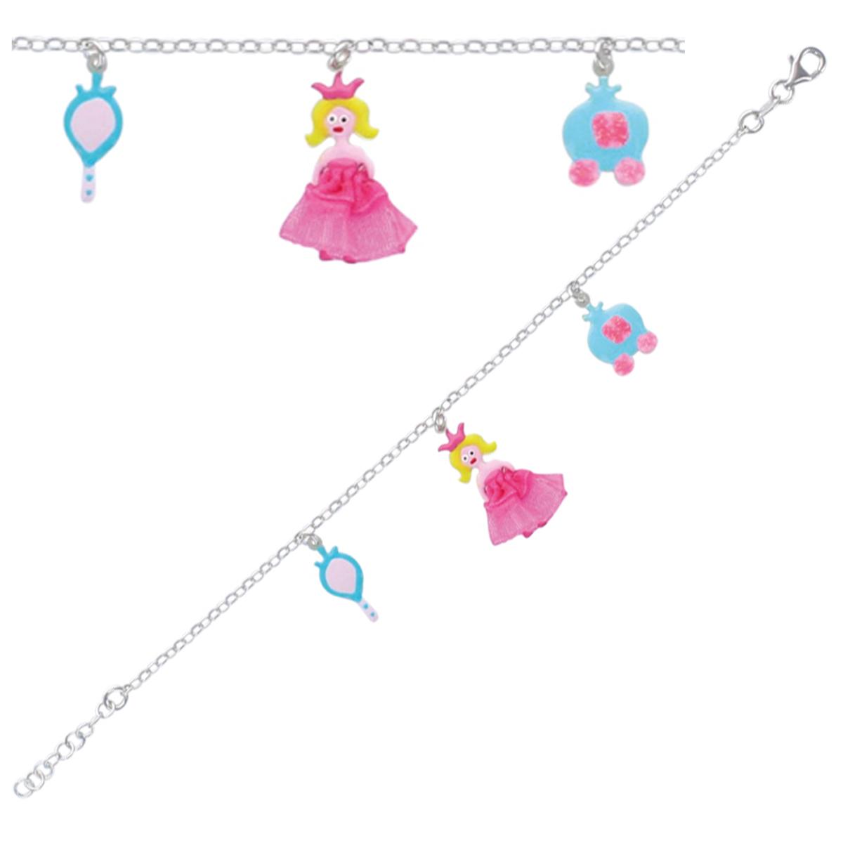 Bracelet Enfant \'Princesses\' multicolore argenté S&B - [P3276]
