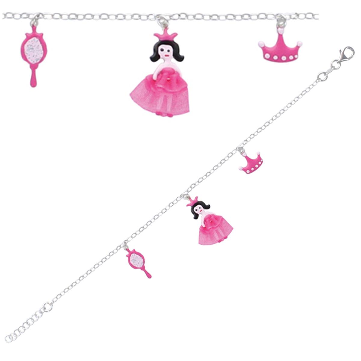 Bracelet Enfant \'Princesses\' rose argenté S&B - [P3277]