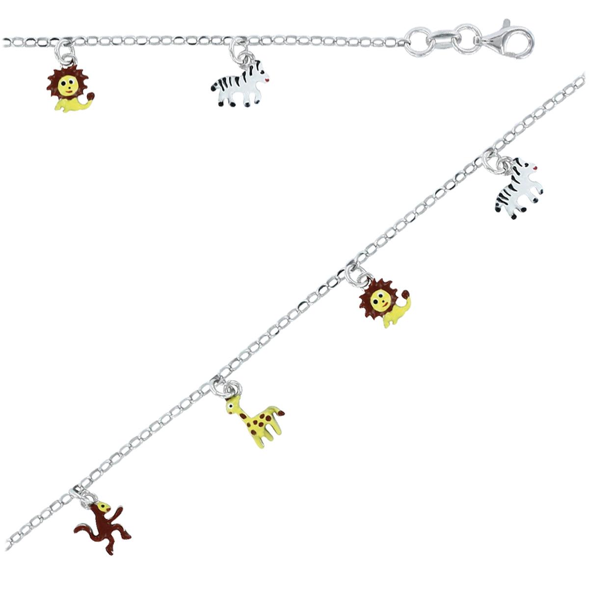 Bracelet Enfant \'Animaux de la Savane\' jaune argenté S&B - [P3278]