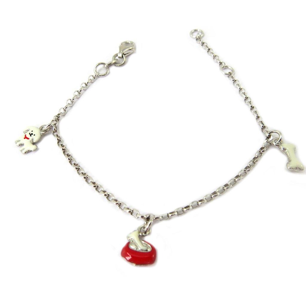 Bracelet Enfant \'Chiens\' rouge ivoire argenté S&B - [P3279]