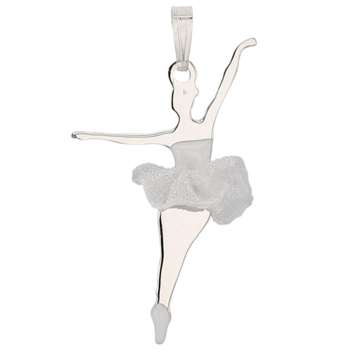 Pendentif Argent \'Ballerines\' blanc argenté (rhodié) - 30x20 mm - [P3280]