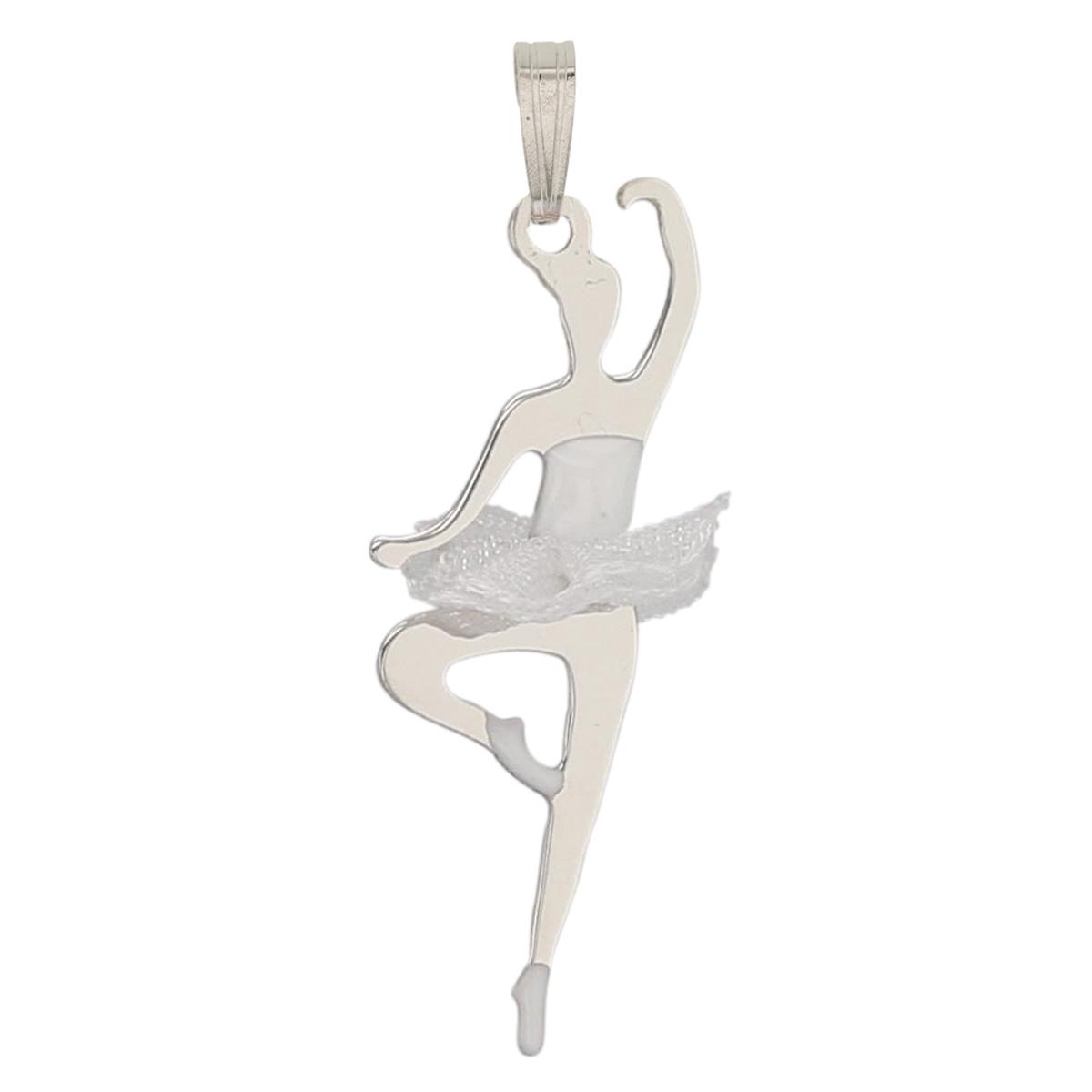 Pendentif Argent \'Ballerines\' blanc argenté (rhodié) - 25x12 mm - [P3284]