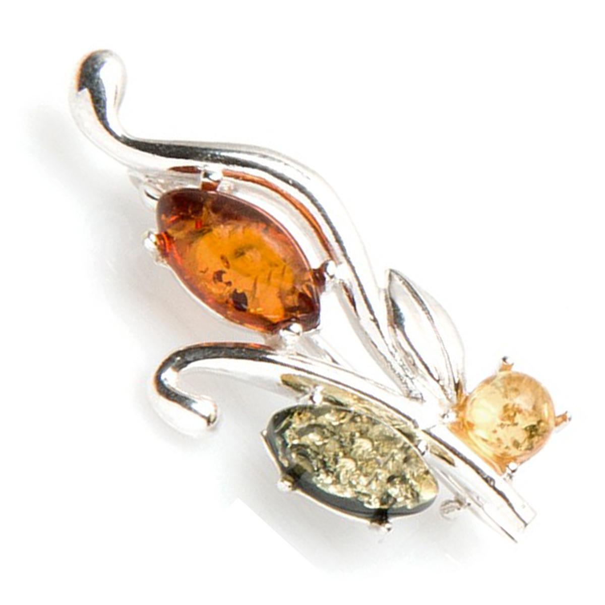 Broche Argent \'Inspiration\' ambre 3 tons (rhodié) - 34x14 mm - [P3330]