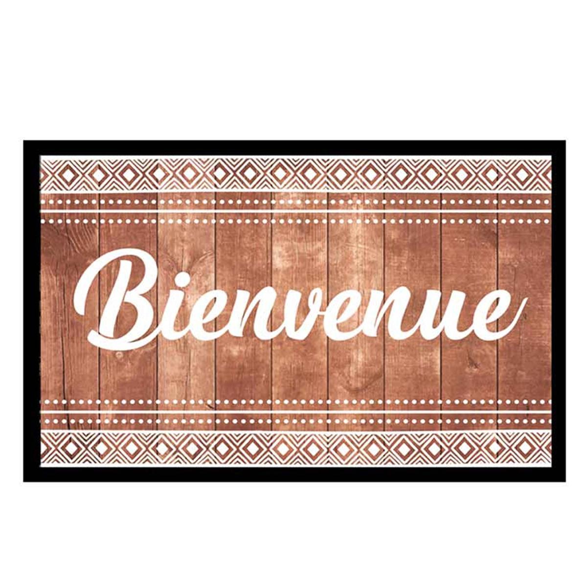 Tapis Intérieur \'Bienvenue Boho\' marron blanc - 60x40 cm - [P6548]